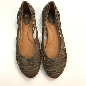 Fossil brown woven leather ballet flats